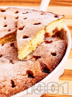 Лесен сладкиш / кекс с прясно мляко, вишни и ванилия (с бакпулвер) - снимка на рецептата